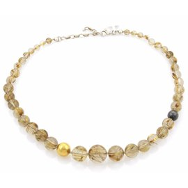 Gurhan Galapagos 24K Yellow Gold & Dark Sterling Silver Rutilated Quartz Necklace