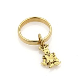 Pomellato 18K Yellow Gold Animated Figure Charm Band Ring Size 5.5