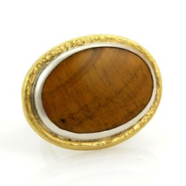 Gurhan Galapagos 24K Yellow Gold & 925 Sterling Silver Tiger's Eye Large Oval Ring Size 7