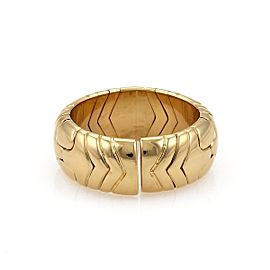 Bulgari Parentesi 18K Yellow Gold Dome Cuff Band Ring Size 7 - 7.5