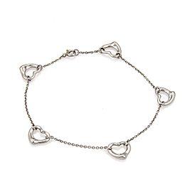 Tiffany & Co. Peretti Platinum 5 Open Heart Charms Chain Bracelet