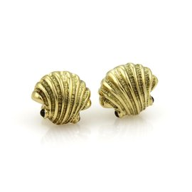 Tiffany & Co. Sapphire 18K Yellow Gold Shell Post Clip Earrings