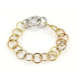 Pomellato Lucciole 18K Yellow Rose and White Gold with Diamond Circle Link Bracelet