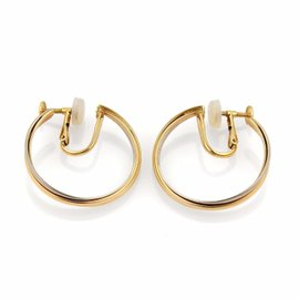 Cartier Trinity 18K Yellow, White and Rose Gold Screw Back Hoop Earrings