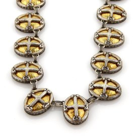 Gurhan 18K Yellow Gold and 925 Sterling Silver Hammered Cross Necklace