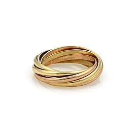 Cartier Trinity 18K Yellow, White and Rose Gold Rolling Band Ring Size 5.5