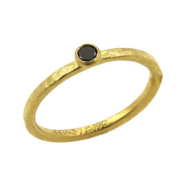 Gurhan 24K Yellow Gold with 0.10ct Black Diamond Hammered Texture Ring Size 5.5