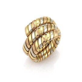 Bulgari Tubogas 18K Yellow Rose and White Gold Wrap Band Ring