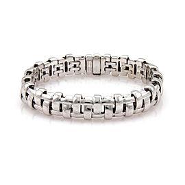 Tiffany & Co. 18K White Gold Wide Basket Weave Style Bracelet