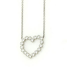 Tiffany & Co. 950 Platinum with 0.25ct Diamond Open Heart Pendant & Chain Necklace