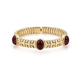 Bulgari 18K Yellow Gold with 12ct Pink Tourmaline Flex Cuff Bracelet