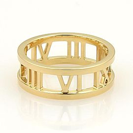Tiffany & Co. Atlas 18K Yellow Gold Roman Numeral Open Band Ring Size 6