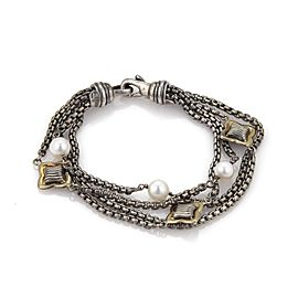 David Yurman 925 Sterling Silver and 18K Yellow Gold with Cultured Pearl Bracelet