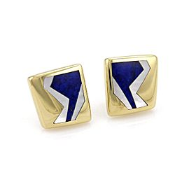 Tiffany & Co. 18K Yellow Gold with Mother of Pearl & Lapis Geometric Earrings