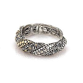 John Hardy Jaisalmer 18K Yellow Gold and 925 Sterling Silver Twist Kick Dot Cuff Bracelet