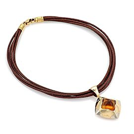 Bulgari Pyramide 18K Yellow and White Gold with Citrine Floral Pendant & Cord Necklace