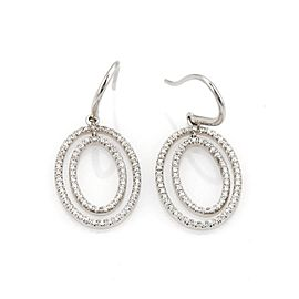 Tiffany & Co. Metro 18K White Gold with 0.46ct Diamond Oval Earrings
