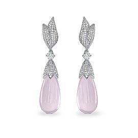 Leibish 18K White Gold with 26ct Rose Quartz & Diamond Drop Earrings