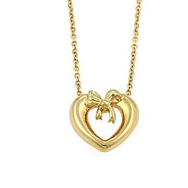 Tiffany & Co. 18K Yellow Gold Heart & Bow Pendant Necklace