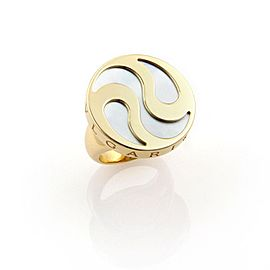 Bvlgari Mother 18K Yellow Gold, Stainless Steel Mother Of Pearl, Pearl Ring Size 6