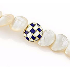 Tiffany & Co. Mother 18K Yellow Gold Mother Of Pearl, Lapis, Pearl Necklace