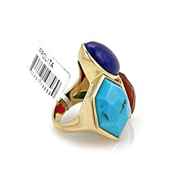 Ippolita Gelato 18K Yellow Gold Turquoise, Carnelian Ring Size 7.5