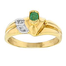 Saya 18K Yellow Gold with 0.02ct Diamonds and Emerald Ring Size 7.5