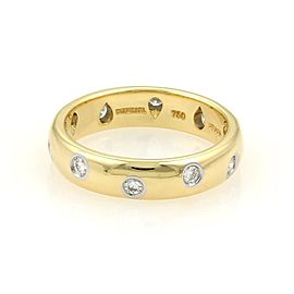 Tiffany & Co. 18K Yellow Gold, Platinum Diamond Ring Size 7
