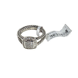 David Yurman Sterling Silver with 0.299ctw Diamond Square Albion Ring Size 7