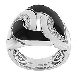 Salvini 18K White Gold & Black Ceramic with Diamonds Cocktail Ring Size 7.75