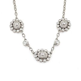 Doris Panos 18K White Gold Diamond Floral Chain Necklace