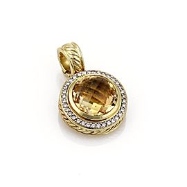 David Yurman Albion Citrine & Diamond 18k Yellow Gold Round Pendant