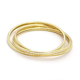 Cartier Trinity Diamond 18k Yellow Gold 3 Interlaced Bangles