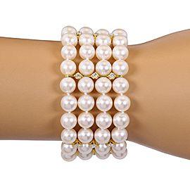 18K Yellow Gold Diamond, Cultured Pearl Bracelet