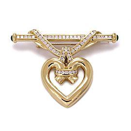 Charles Krypell 18K Yellow Gold Diamond, Emerald Brooch