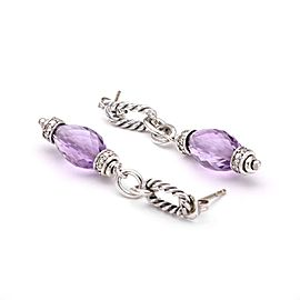 David Yurman Sterling Silver Diamond, Amethyst Earrings