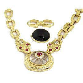 18K Yellow Gold Ruby, Diamond, Onyx Pendant