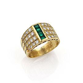 18K Yellow Gold Diamond, Emerald Ring Size 6