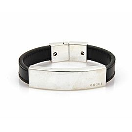 Gucci Sterling Silver Leather Bracelet