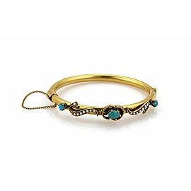 14K Yellow Gold Turquoise, Cultured Pearl Bracelet