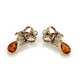 18K Yellow Gold Citrine, Cultured Pearl Earrings