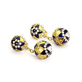 Ball 18K Yellow Gold Enamel Earrings