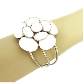 Chanel White Gripoix Glass Camellia Floral Silver Plated Open Wire Cuff Bracelet