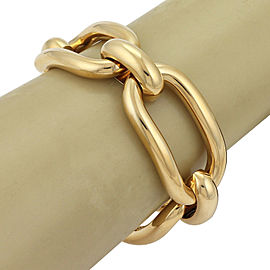 Bucherer 23mm Wide Large Curved Link Chain 18k Yellow Gold Bracelet