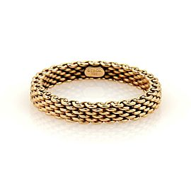 Tiffany & Co. Somerset 18k Rose Gold 4mm Wide Mesh Band Ring Size 6.5