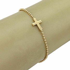 Gucci 18k Yellow Gold Sideway Cross Charm Bead Chain Bracelet