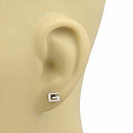 Gucci G Logo 18k White Gold Stud Earrings