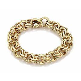 "Estate Double Ring 14k Yellow Gold Charm Bracelet 7.5"" Long"