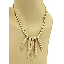 H. Stern 18k Yellow & Rose Gold Stack Long Feather Triple Strand Necklace