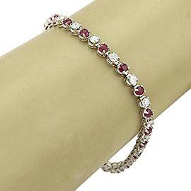 Estate 5.58ct Diamond & Ruby Platinum Prong Set Tennis Bracelet